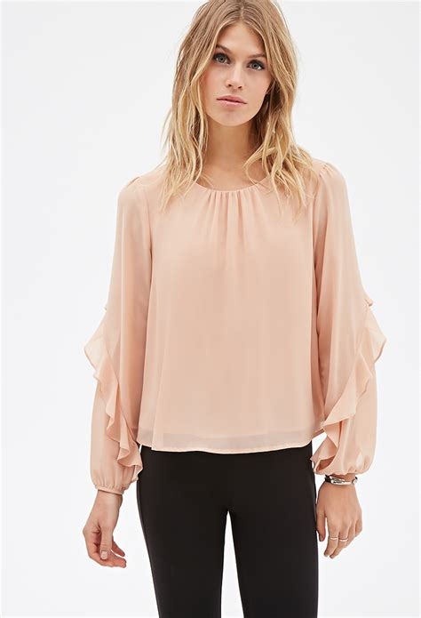 ruffled blouses forever 21 contemporary ruffled sleeve layered blouse you