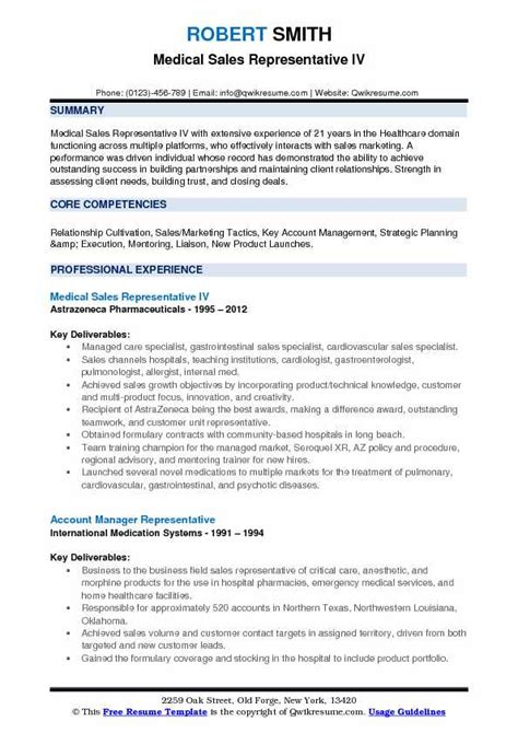 sales representative resume sles qwikresume