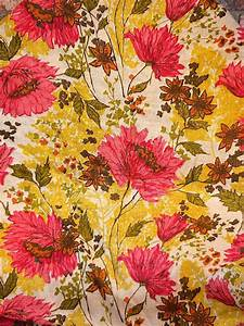 Vintage Fabric Pink and Yellow Floral Linen Burlap 1.5