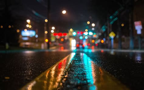 image  wet road yellow lines night city wide hd