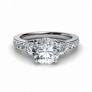 trilogy 3 stone diamond engagement ring With three diamond wedding ring