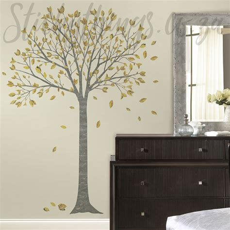 Silver Grey And Gold Tree Decal  Family Tree Wall Sticker