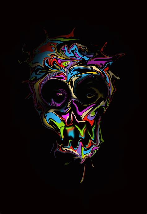 Abstract Black Wallpaper Portrait by Digital Skull Simple Background Colorful Portrait