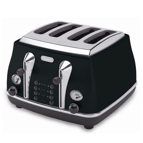 Delonghi Icona Kettle And Toaster Black by Delonghi Icona Retro 4 Slice Toaster Black Cto4003bk