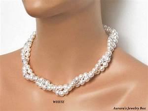 bridal pearl necklace multi strand white pearl bridal With pearl necklace with wedding dress
