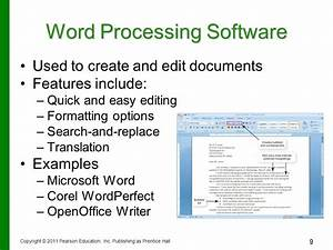 application software programs that let you work and play With document processing software