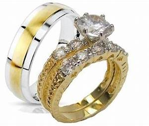 yellow gold overlay his hers 3 piece engagement wedding With 3 piece gold wedding ring sets