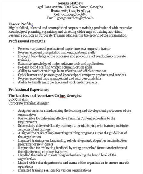 corporate trainer resume exles 28 images coordinator
