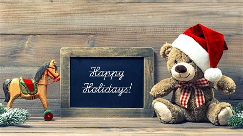 wallpaper happy holidays teddy bear santa hat hd