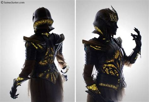 woman spends  hours making futuristic medieval armor