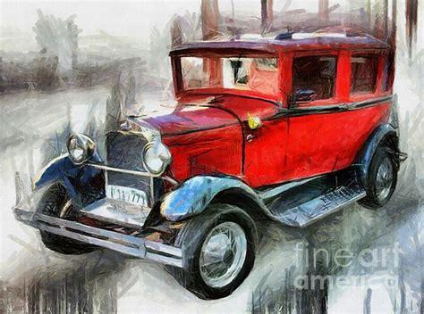 red vintage car drawing digitally enhanced  daliana