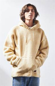 brixton leather grade sherpa pullover hoodie in