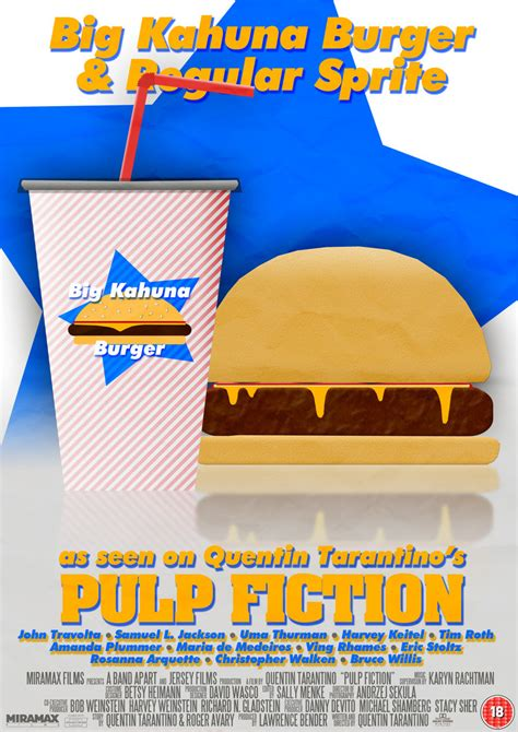 pulp fiction big kahuna burger film poster  crustydog