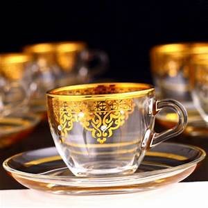 Gold, Espresso, Size, Turkish, Coffee, Cups, Set, For, Six, Person