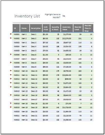equipment inventory list  reorder  highlighted