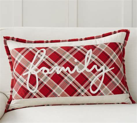 discontinued pottery barn pillow covers family script applique lumbar pillow cover pottery barn