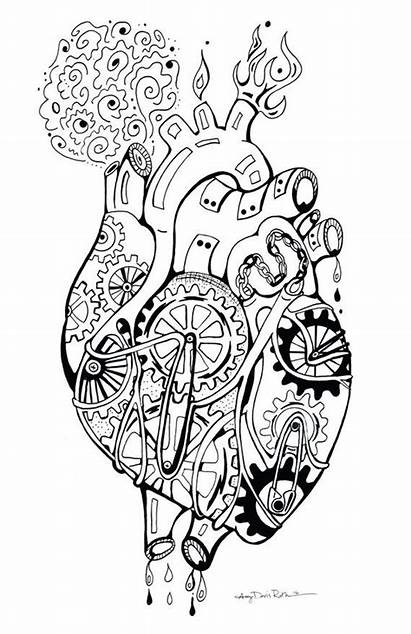 Heart Coloring Mechanical Poster Robot Frame 11x17