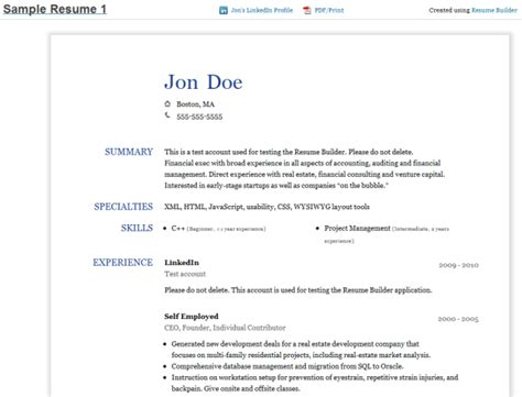 Build Resume From Linkedin Profile by Resume Builder Create A Resume From Your Linkedin Profile