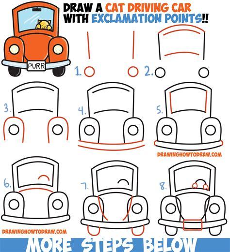 draw cute cartoon cat driving  car