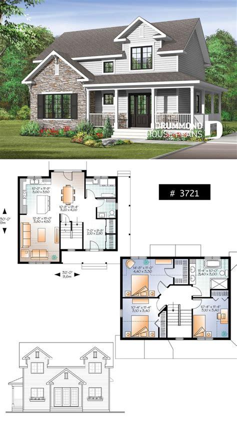 transitional style house plan  wraparound porch large