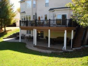 after deck with paver patio and deck ceiling