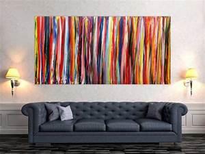 Abstrakte Bilder Acryl : abstraktes wandbild acryl modern bunt auf leinwand 100x200cm ~ Whattoseeinmadrid.com Haus und Dekorationen