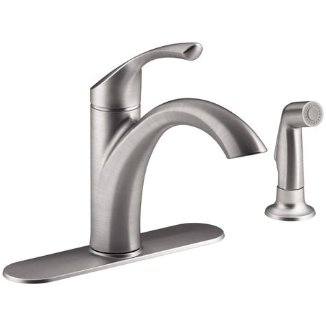 kohler mistos single handle standard kitchen faucet  side sprayer  stainless steel