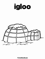 Igloo Coloring Pages Winter Preschool Twistynoodle History sketch template
