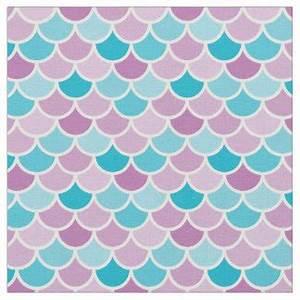 Mermaid Pattern Fabric Zazzle co uk