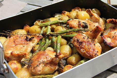 recettes plats cuisin駸 poulet roti au vin blanc pommes de terre asperges vertes et citron