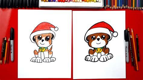 draw  christmas puppy art  kids hub