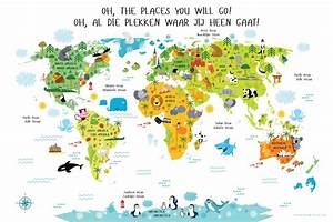 Bilingual World Map Poster for Kids in English-Dutch