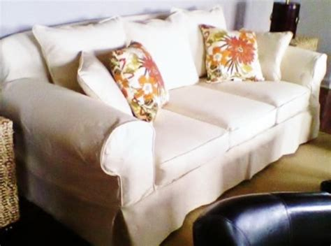 White Denim Slipcovers For Sofa by White Denim Slipcover Contemporary Sofas Other By