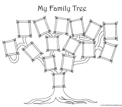 coloring page  kids  simple fun family tree chart