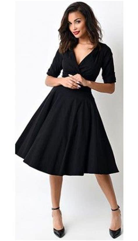 unique vintage 1950s style black delores sleeved swing dress stage dresses