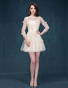 Champagne sleeve short prom dress lace cocktail dress for Cocktail dresses with sleeves for weddings