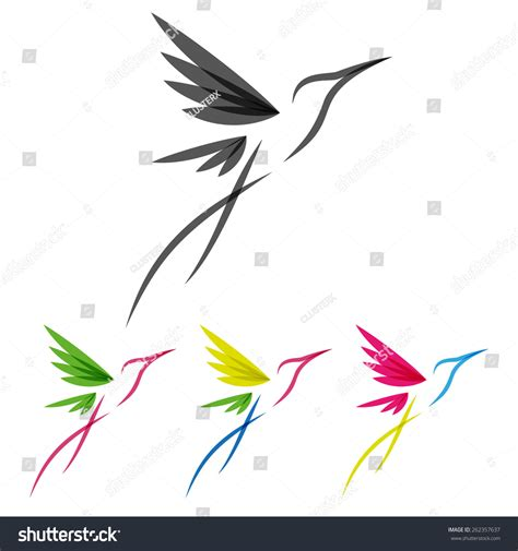 tropical wild templat vector colored stylized tropical hummingbirds template