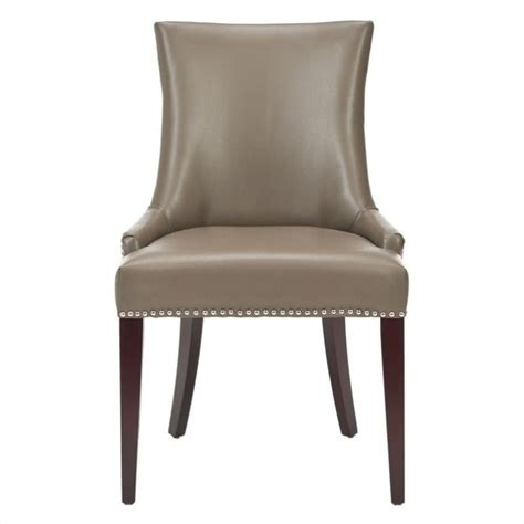 safavieh amelia birch and leather dining chair in clay