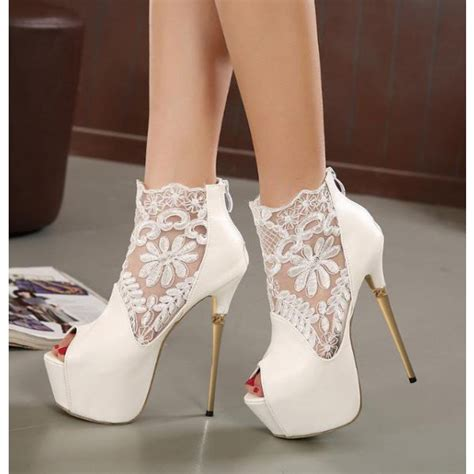 white wedding shoes peep toe lace stiletto heel ankle