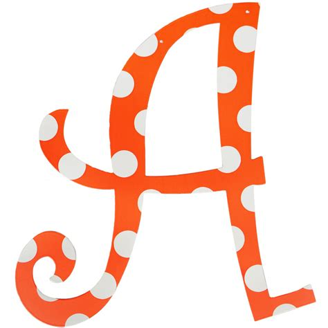 orange polka dot metal letter