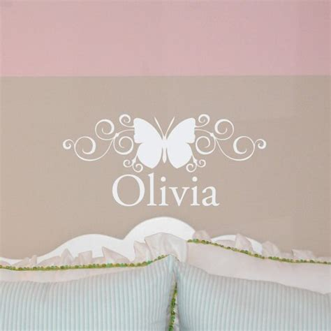 scroll butterfly custom  monogram wall decal sticker