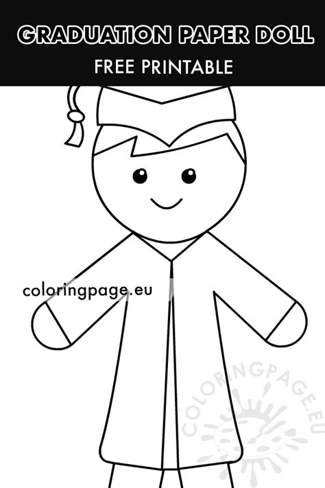 graduation boy paper doll printable coloring page
