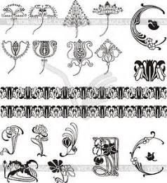 Jugendstil Florale Ornamente : einfache florale ornamente im jugendstil klipart ~ Orissabook.com Haus und Dekorationen