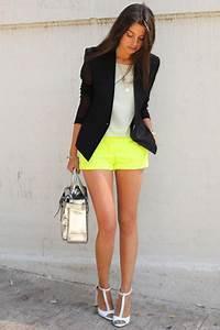 Black Helmut Lang Blazers Yellow JCrew Shorts White Zara