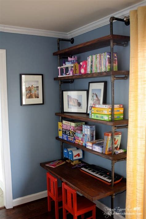 kids desk with shelves remodelaholic diy industrial pipe shelves and desk