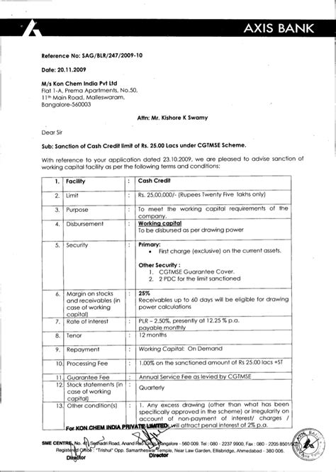 axis bank sanction letter