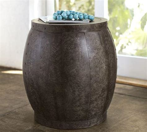 metal drum side table marlow metal drum accent table pottery barn