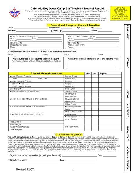 bsa medical form templates  printable