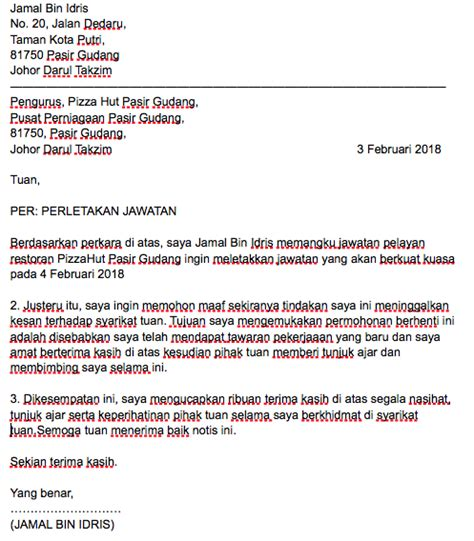 Contoh Surat Berhenti Kerja Notis Sebulan Dalam Bahasa