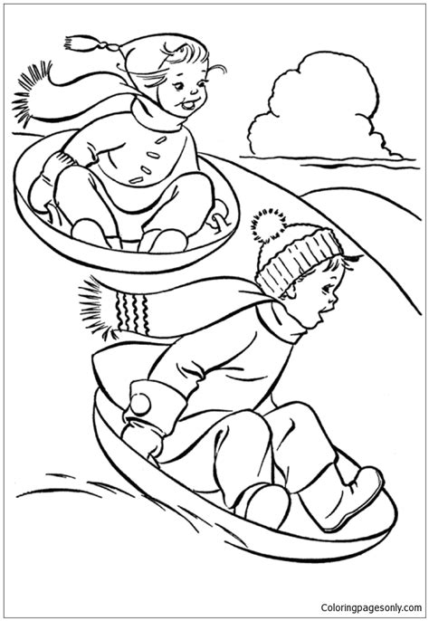 kids  fun  winter  sled dog coloring page